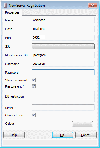 Connecting to the PostgreSQL database with pgAdmin — OpenGeo Suite
